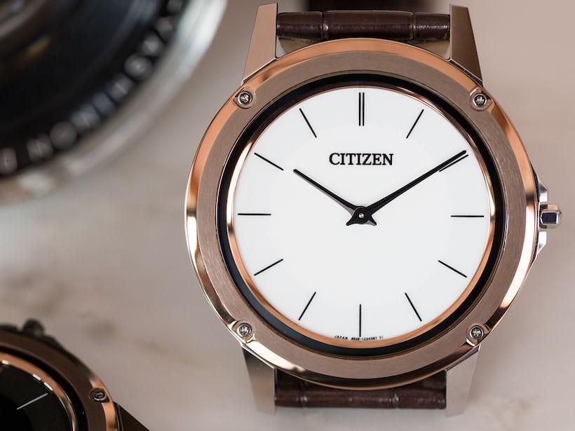 Citizen Eco-Drive One white dial closeup