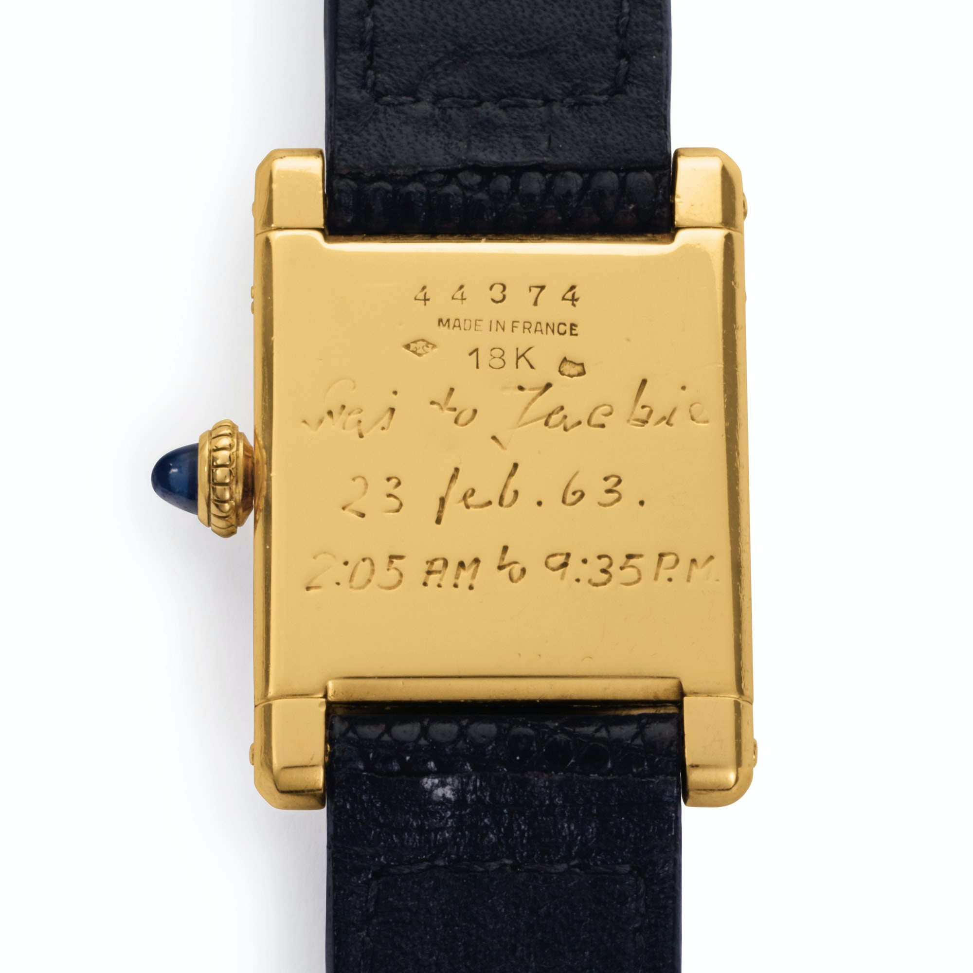 Jacqueline Kennedy Onassis Cartier Tank engraving