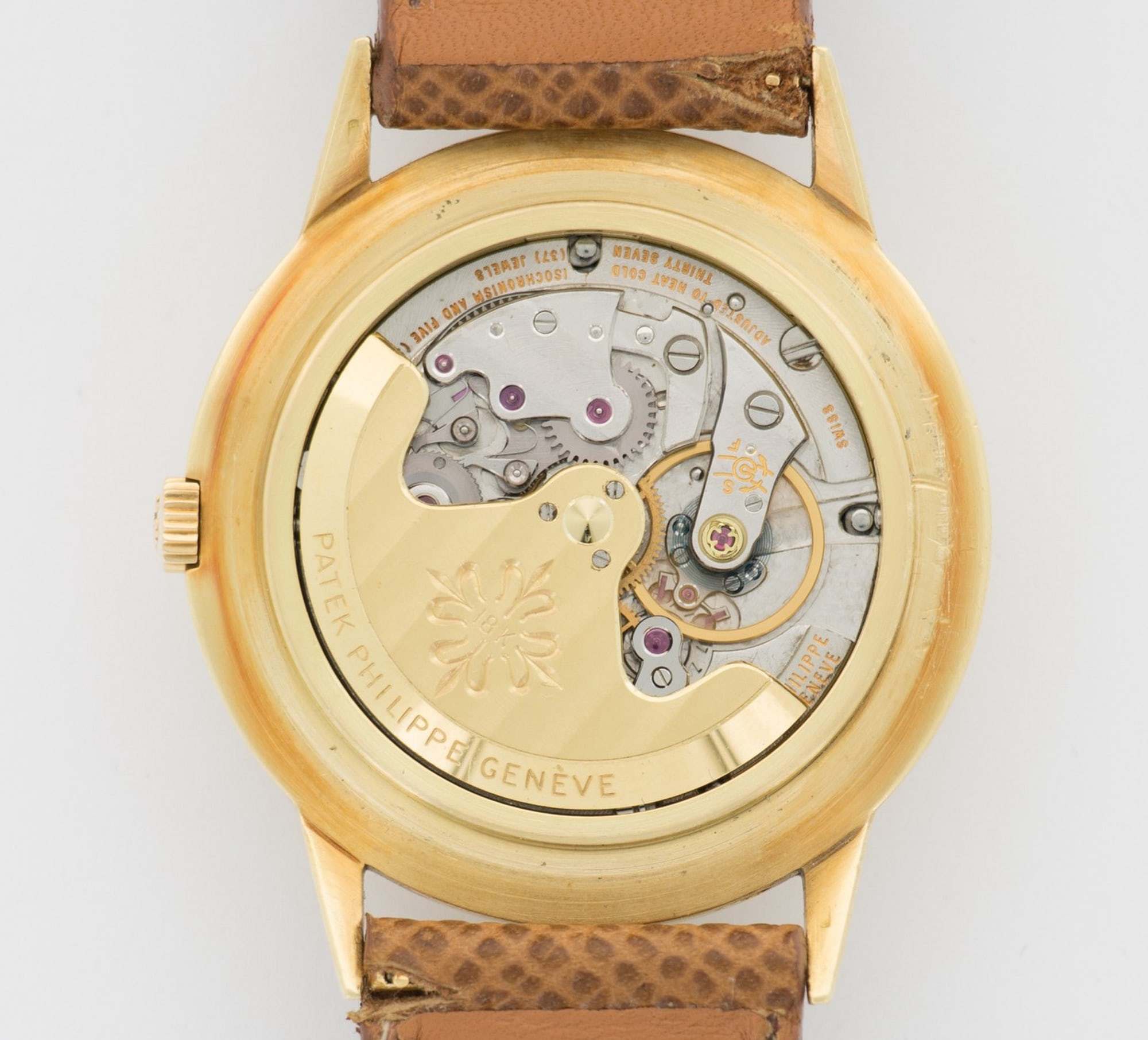 <p>The 18k gold rotor of the automatic movement.</p>