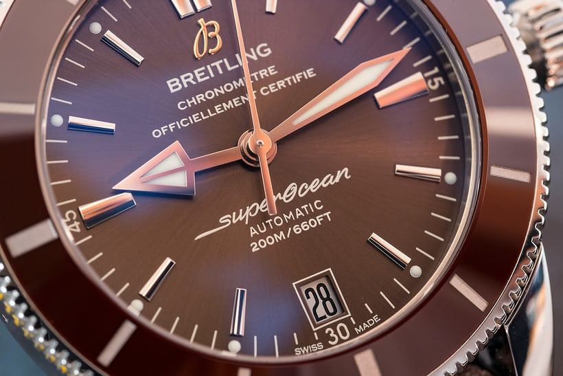 Breitling Superocean Héritage II brown dial closeup