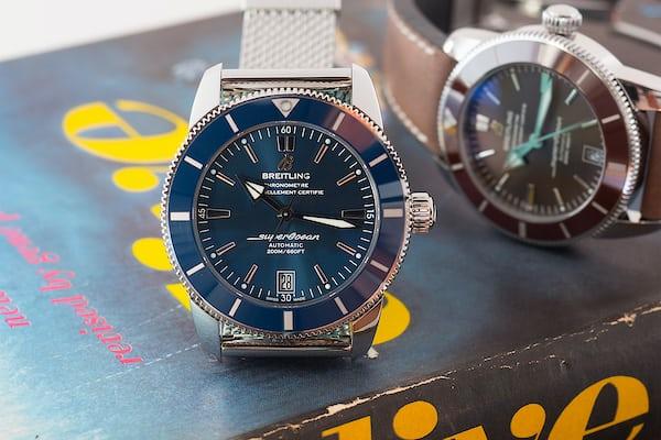 Breitling Superocean Héritage II blue dial closeup