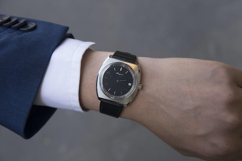 The tonneau shaped Breguet on the wrist of Antoine Breguet.