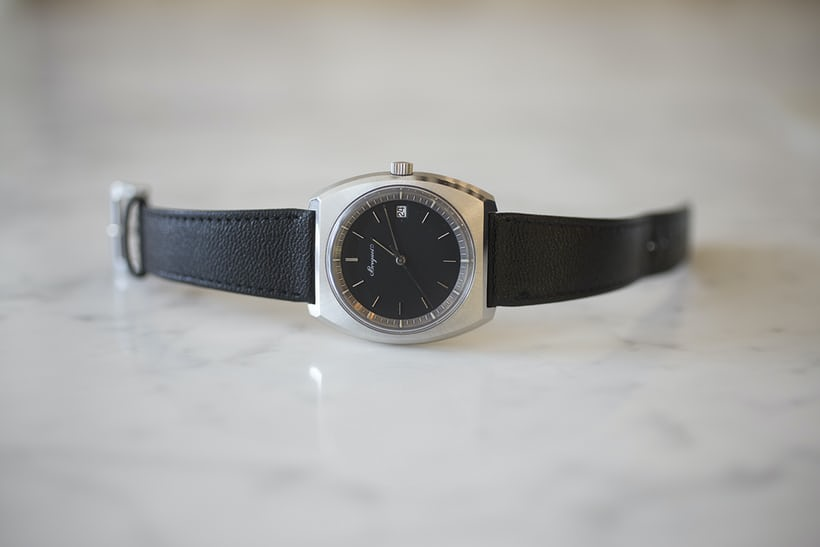 A tonneau shaped Breguet in stainless steel, sold in 1975.