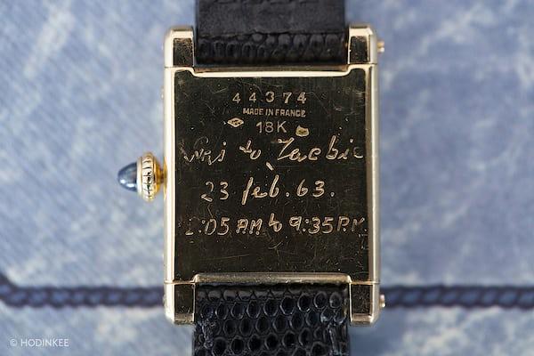 Jackie O Cartier Tank caseback inscription