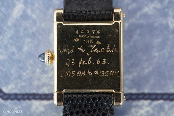 Jackie O Cartier Tank caseback inscription