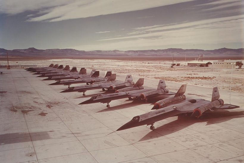 A-12 Oxcart spy planes at Groom Lake