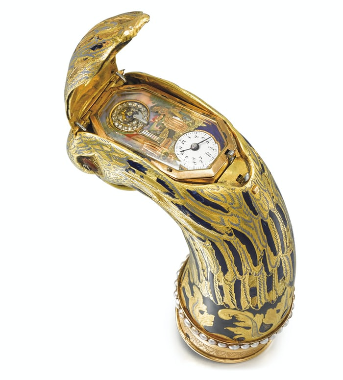 The dial and animations of a cane head watch, Geneva 1810