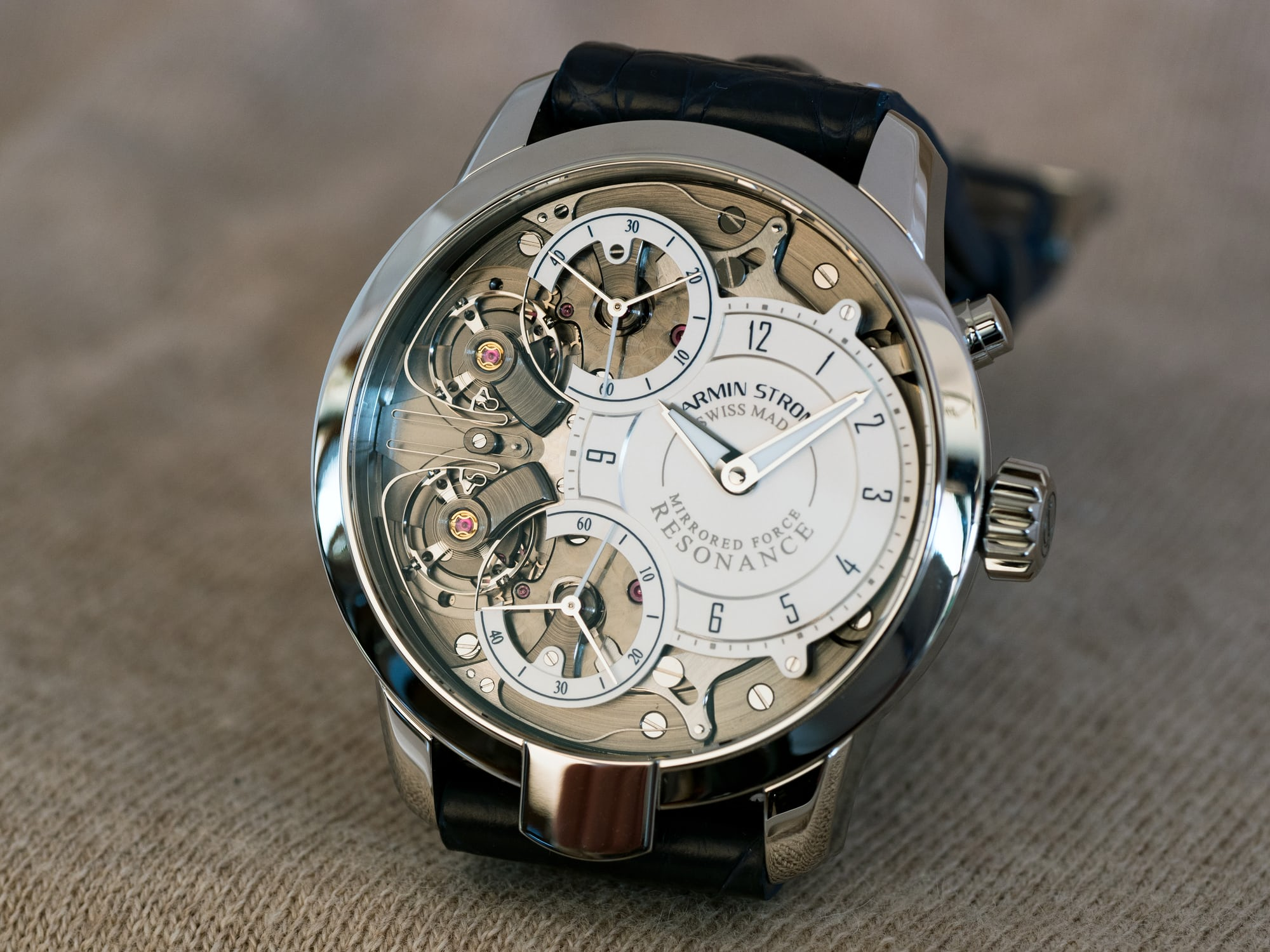 """Armin Strom Mirrored Force Resonance """"Water"""" dial closeup"""