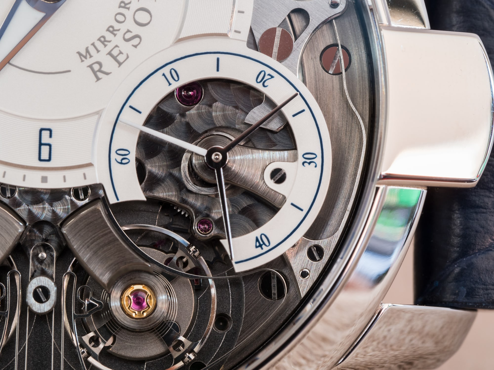Armin Strom Mirrored Force Resonance Water seconds subdial and reset mechanism