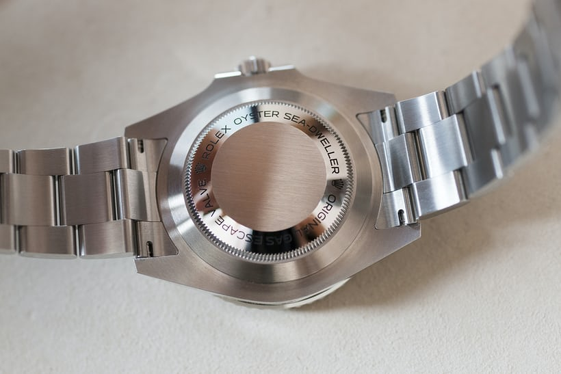 The caseback of the 43mm Sea-Dweller is steel like the rest of the watch – the Deepsea, however, uses a titanium caseback.