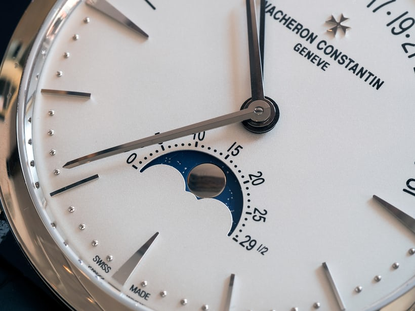 Vacheron Constantin Patrimony Moon Phase And Retrograde Date moonphase disk closeup