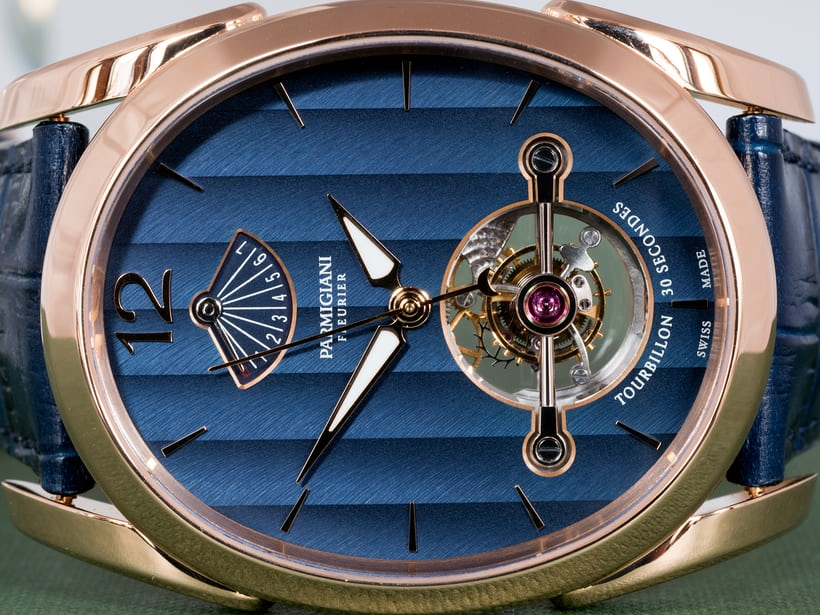 Parmigiani Fleurier Ovale Tourbillon tourbillon bridge and power reserve