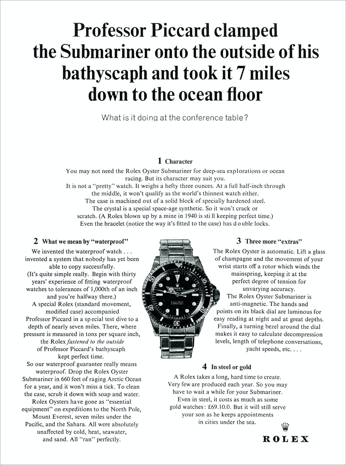 1964 Advertisement for Rolex Submariner A Week On The Wrist: The Rolex Sea-Dweller Reference 126600 A Week On The Wrist: The Rolex Sea-Dweller Reference 126600 1964 Professor Piccard Submariner