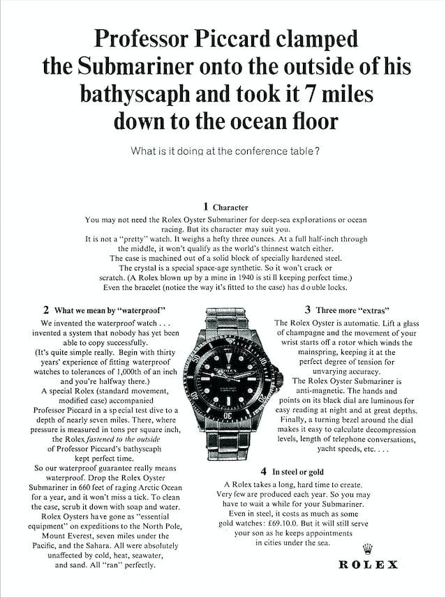 1964 Advertisement for Rolex Submariner