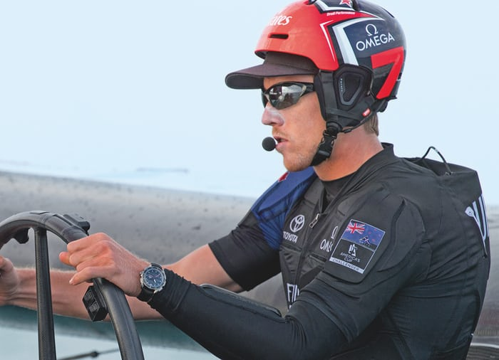 X-33 Regatta on the wrist of Team News Zealand helmsman