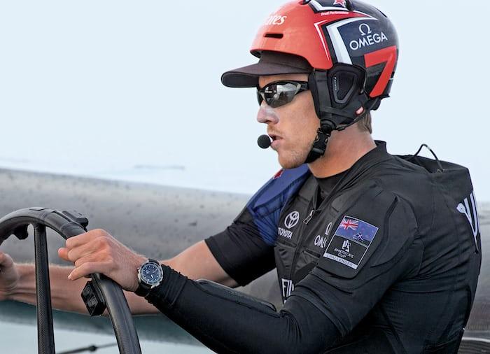 X-33 Regatta on the wrist of Team News Zealand helmsman