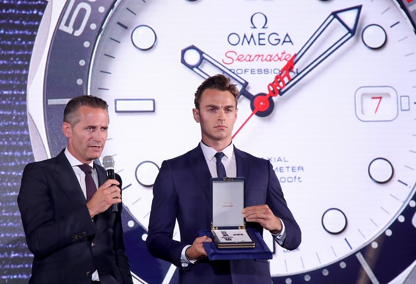 Omega CEO Raynald Aeschlimann presents the Commander's Watch in London.