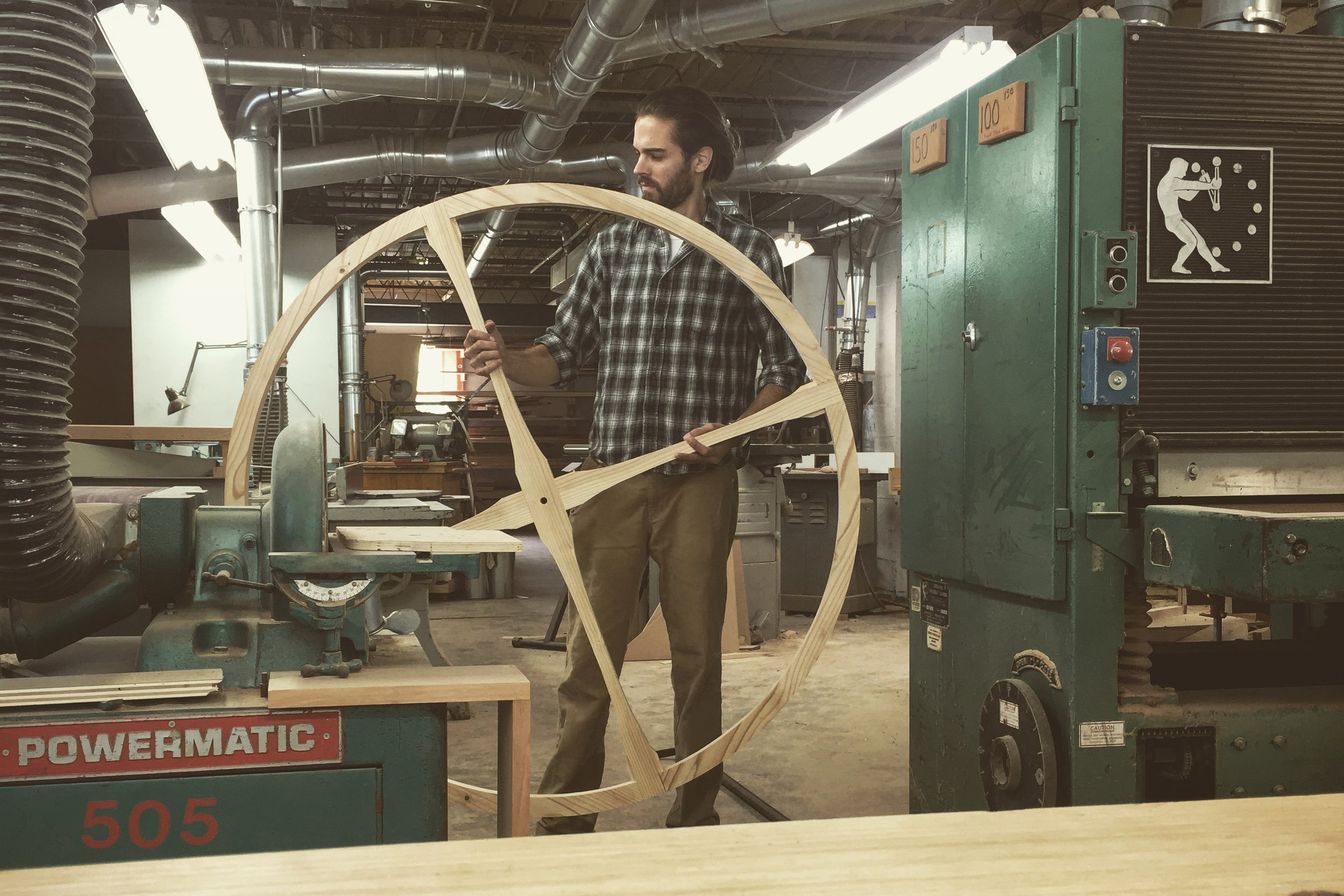 Hale in his workshop in Kalamazoo, Michigan. introducing: rick hale's incredible large-scale wooden clocks Introducing: Rick Hale's Incredible Large-Scale Wooden Clocks powermatic