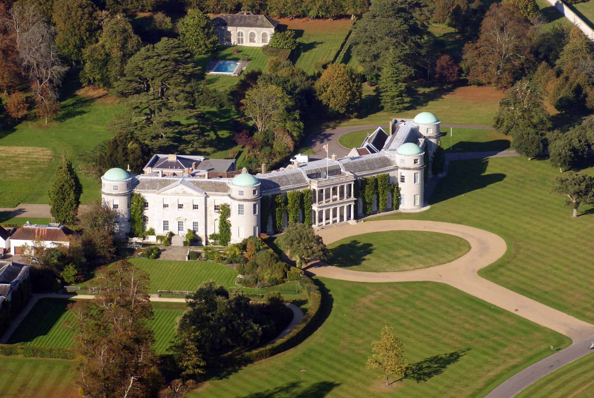 Goodwood House from the air dispatches: with montblanc at the petrolhead's paradise that is the goodwood festival of speed Dispatches: With Montblanc At The Petrolhead's Paradise That Is The Goodwood Festival Of Speed Goodwood House West Sussex England 2Oct2011