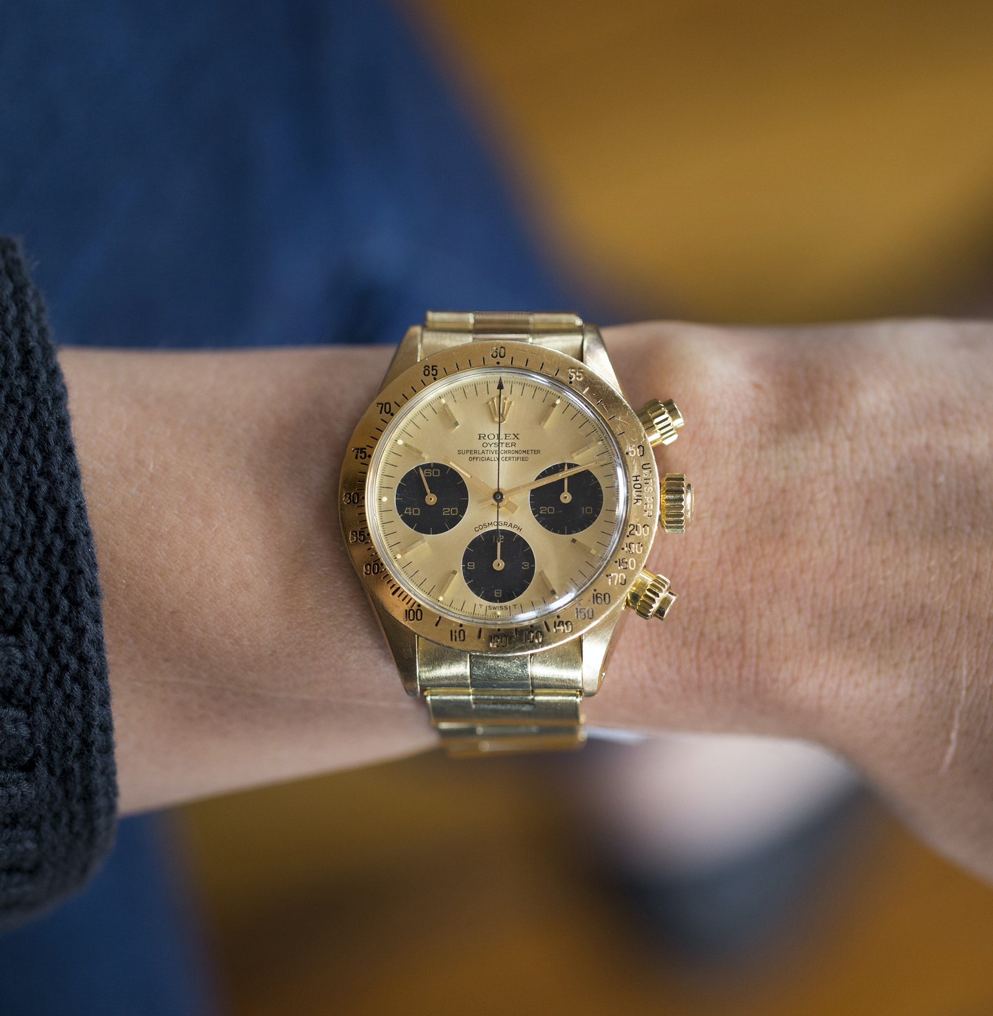 Rolex Daytona Reference 6265 In The Shop: A 1978 Rolex Daytona Ref. 6265 In 14K Yellow Gold, A 1960s Heuer Carrera Ref. 3647N, And A 1940s Universal Genve Compax In The Shop: A 1978 Rolex Daytona Ref. 6265 In 14K Yellow Gold, A 1960s Heuer Carrera Ref. 3647N, And A 1940s Universal Genve Compax 20012035 copy