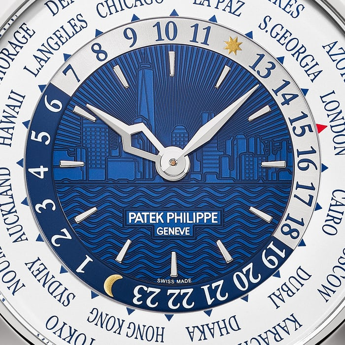 Patek Philippe Men's World Time Ref. 5230G New York 2017 Special dial closeup