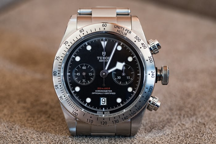 Tudor Black Bay Chronograph hand blocking dial at 2:00