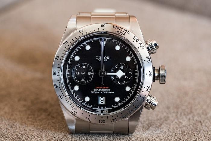 Tudor Black Bay Chronograph hand blocking chronograph 3:00