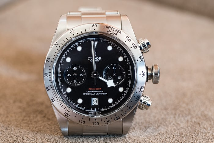 Tudor Black Bay Chronograph hand blocking chronograph 4:00
