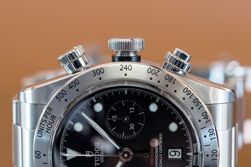 Tudor Black Bay Chronograph screw down crown and pushers