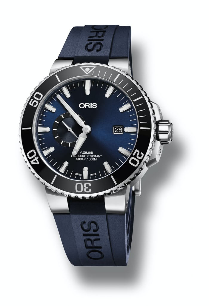 oris quis small second date blue