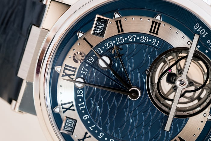 Breguet 5887 equation of time hand, hour and minute hands, and date hand