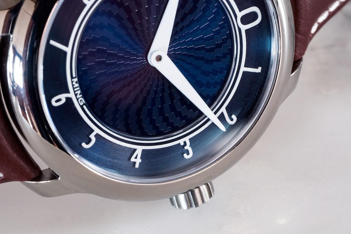 Ming 17.01 Blue dial closeup
