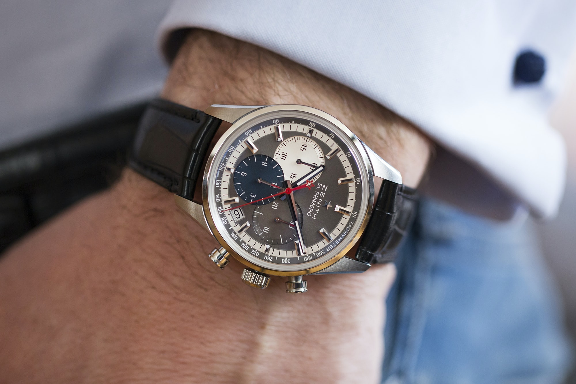 The Zenith El Primero Chronomaster 38mm wrist shot Hands-On: The Zenith El Primero Chronomaster 38mm Hands-On: The Zenith El Primero Chronomaster 38mm 20010886 copy