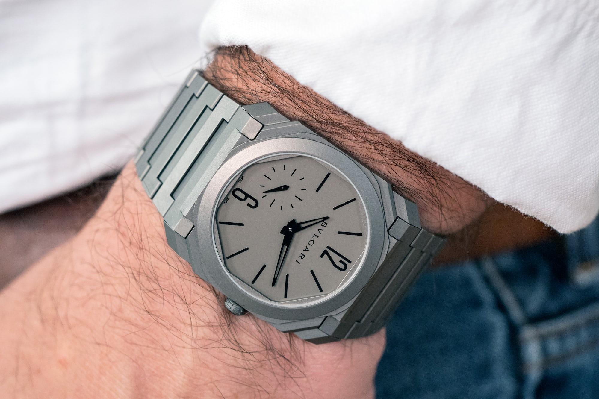The Bulgari Octo Finissimo Automatique wrist shot A Week On The Wrist: The Bulgari Octo Finissimo Ultra-Thin Automatique A Week On The Wrist: The Bulgari Octo Finissimo Ultra-Thin Automatique P8093330