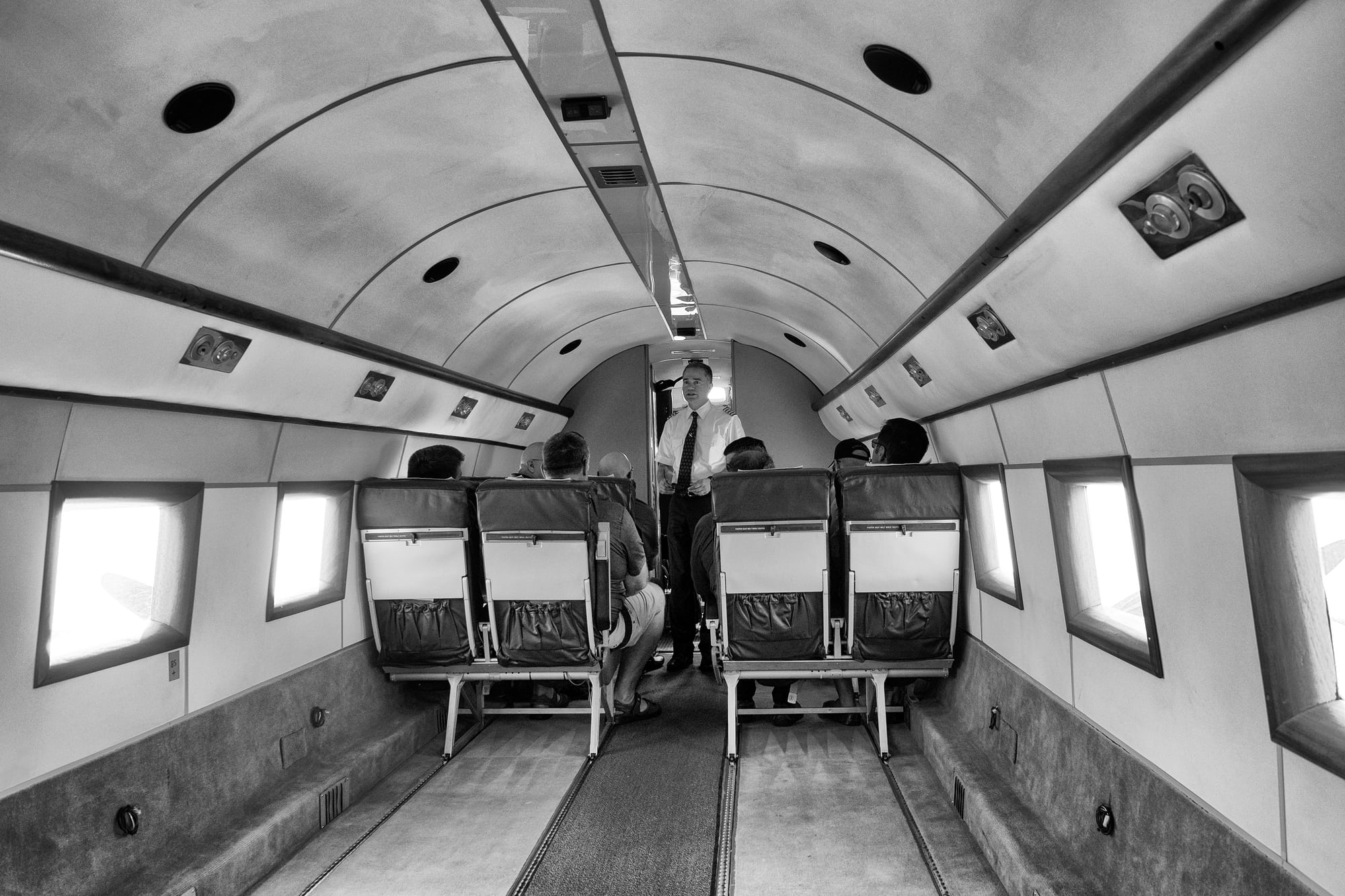 Breitling DC-3 cabin Dispatches: Breitling's DC-3 To Become Oldest Aircraft Ever To Circle The Earth Dispatches: Breitling's DC-3 To Become Oldest Aircraft Ever To Circle The Earth P8212248 bw