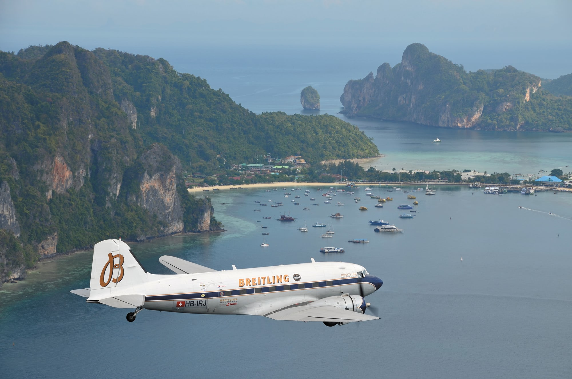 Breitling DC-3 over Phuket, Thailand Dispatches: Breitling's DC-3 To Become Oldest Aircraft Ever To Circle The Earth Dispatches: Breitling's DC-3 To Become Oldest Aircraft Ever To Circle The Earth Breitling DC3 World Tour   Phuket   Thailand 1