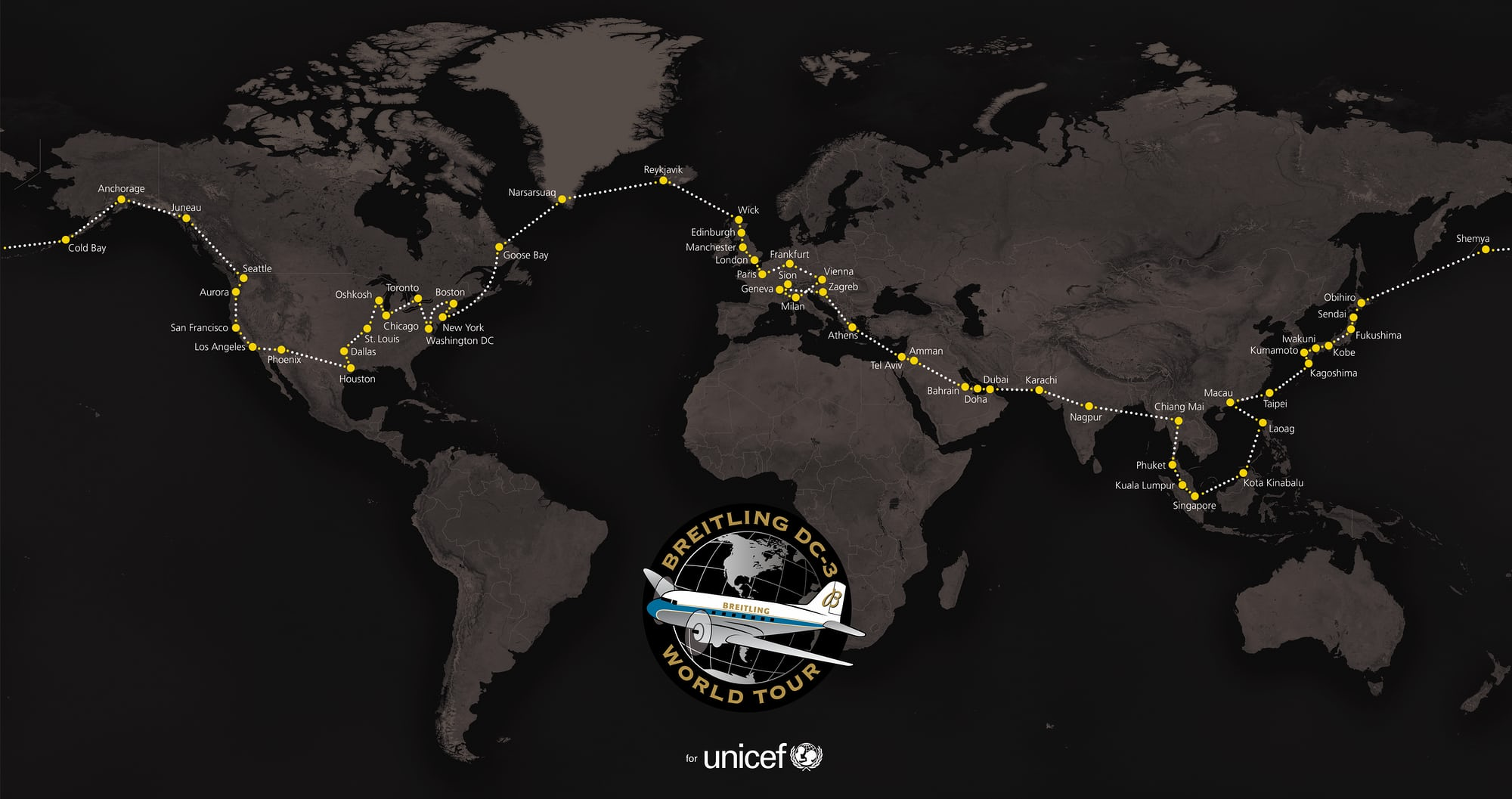 Breitling DC-3 route Dispatches: Breitling's DC-3 To Become Oldest Aircraft Ever To Circle The Earth Dispatches: Breitling's DC-3 To Become Oldest Aircraft Ever To Circle The Earth Breitling DC 3 Around the World Map