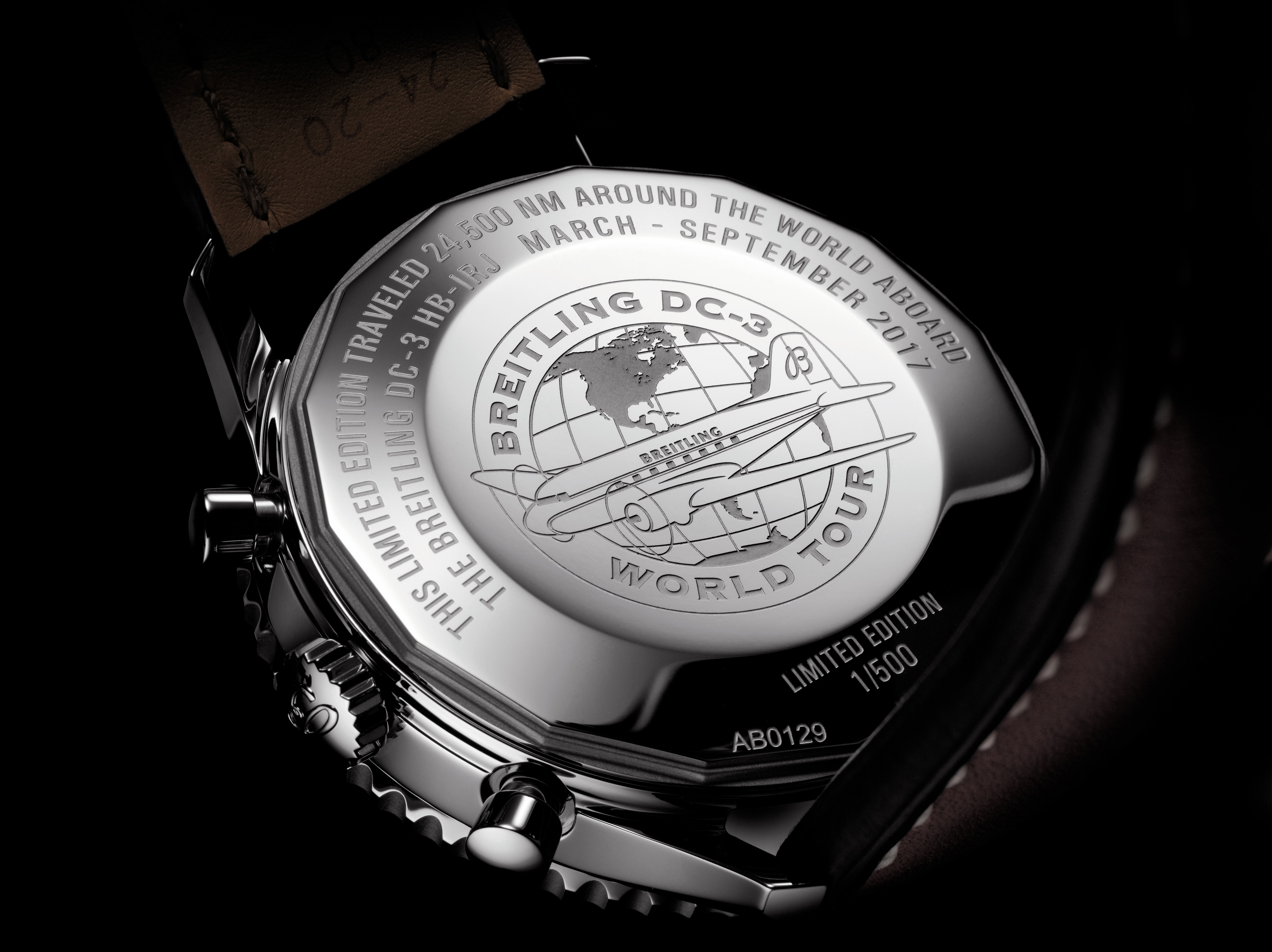 Breitling DC-3 Navitimer 01 Limited Edition caseback Dispatches: Breitling's DC-3 To Become Oldest Aircraft Ever To Circle The Earth Dispatches: Breitling's DC-3 To Become Oldest Aircraft Ever To Circle The Earth Breitling DC 3 Limited Edition Navitimer 4