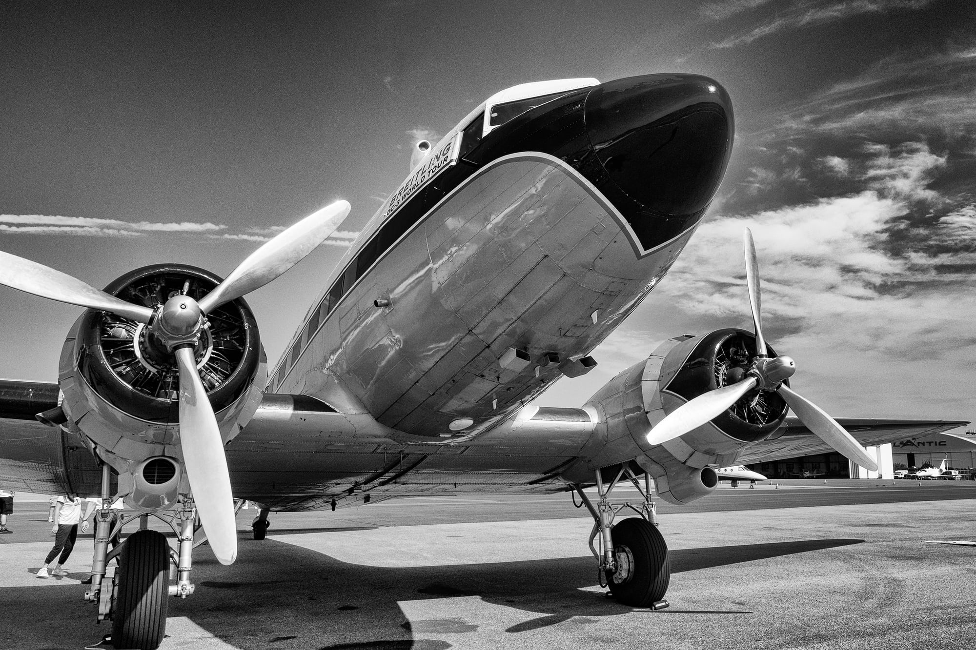 Breitling DC-3 nose and engines Dispatches: Breitling's DC-3 To Become Oldest Aircraft Ever To Circle The Earth Dispatches: Breitling's DC-3 To Become Oldest Aircraft Ever To Circle The Earth P8212268 bw