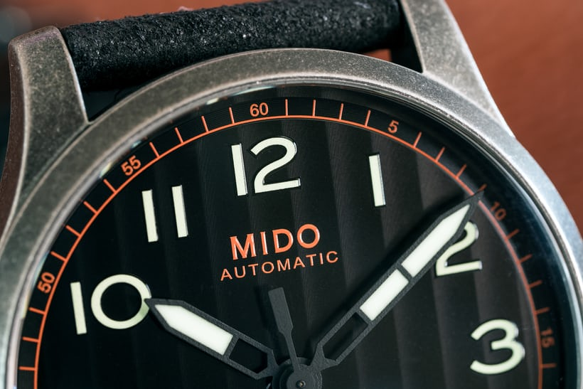 The Mido Multifort Escape dial closeup
