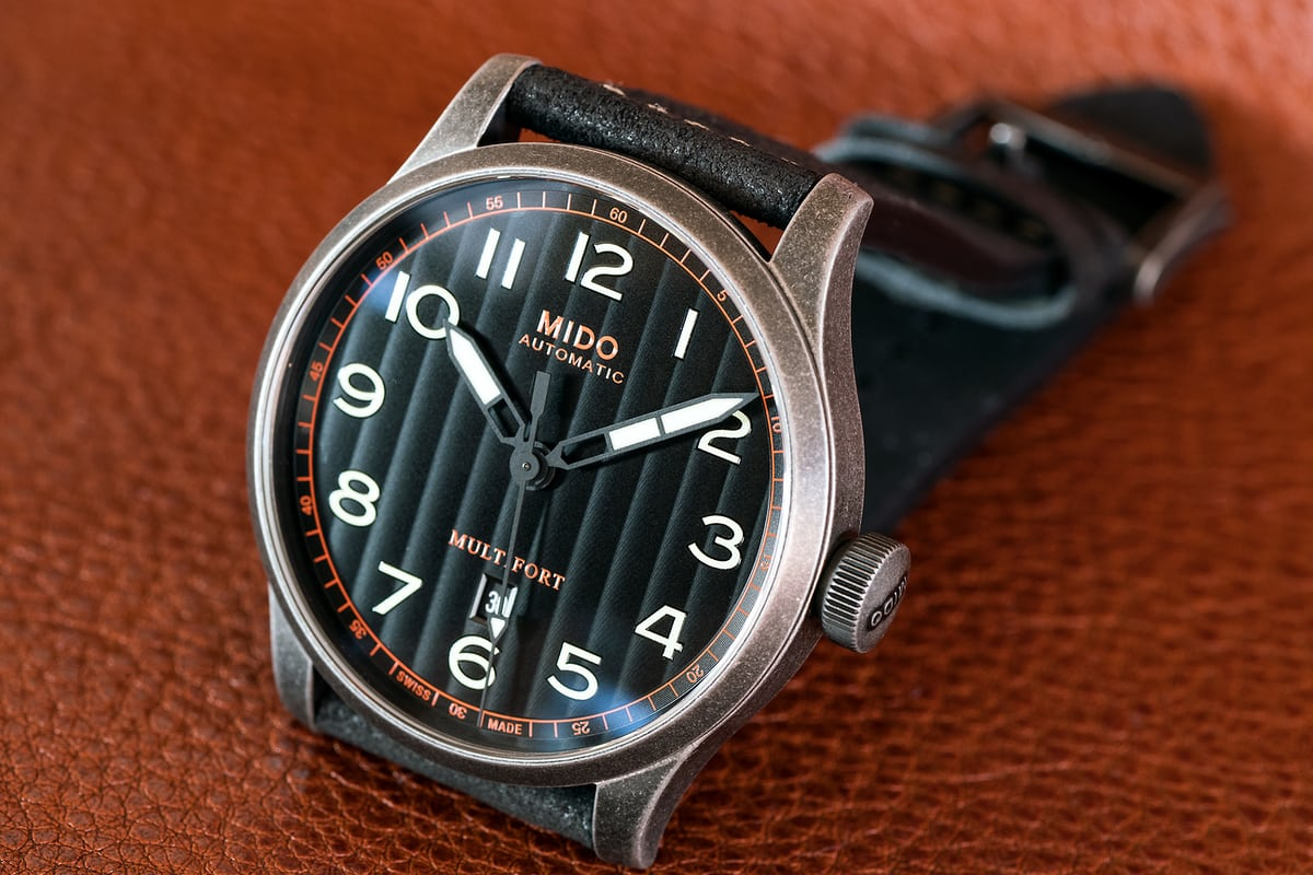 The Mido Multifort Escape dial Geneva stripes