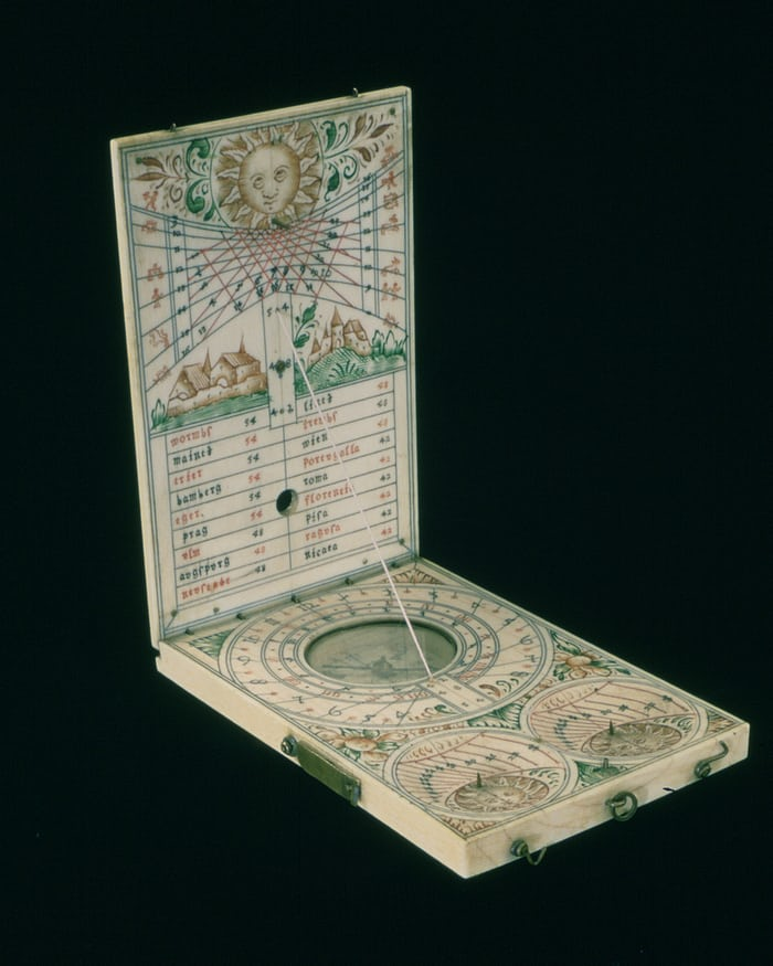 17th century Nuremberg Ivory Diptych sundial showing latitudes for different cities, Italian hours, Babylonian hours, and the number of hours of daylight and darkness (inventory no. 7899, The Collection of Historical Scientific Instruments, Harvard Univer