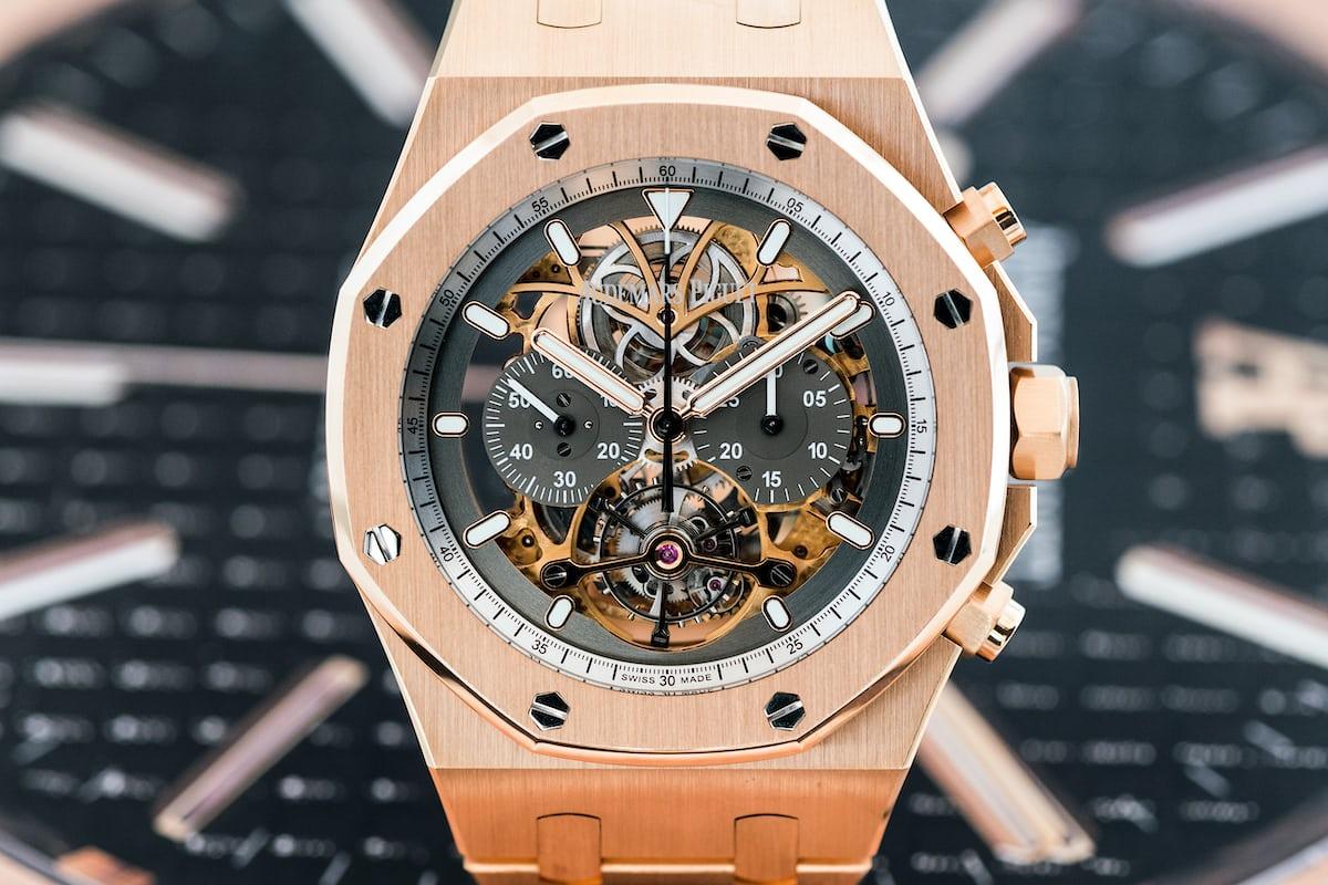 Royal Oak Tourbillon Chronograph Squelette, reference 26347 pink gold