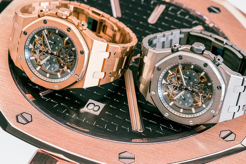 Royal Oak Tourbillon Chronograph Squelette, reference 26347 pink gold and titanium side by side