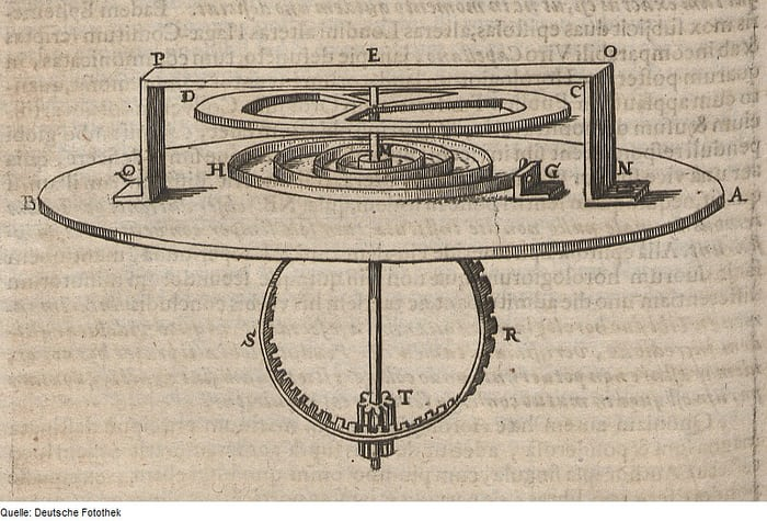 Drawing by Christiaan Huygens of his balance spring and balance combination, as published in 1665.