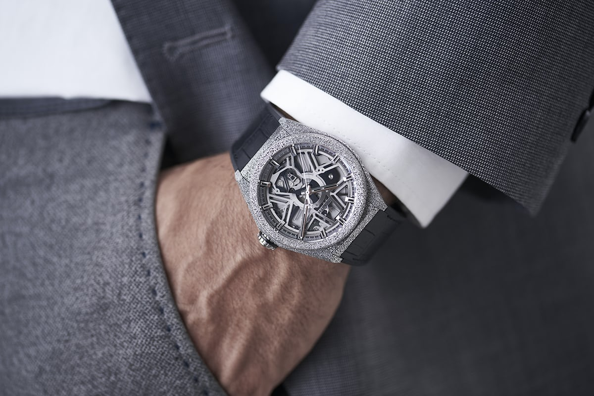 The Zenith Defy Lab with Aeronith case, wrist shot