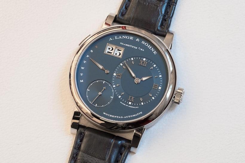 a lange sohne blue dial lange 1 daymatic