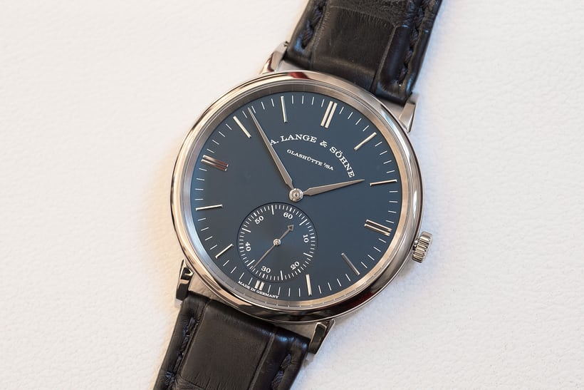 a lange sohne blue dial saxonia automatic
