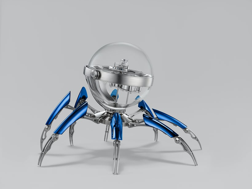 The Octopod clock is the latest collaboration between MB&F and clockmaker L'Epée 1839 (shown, blue PVD version).