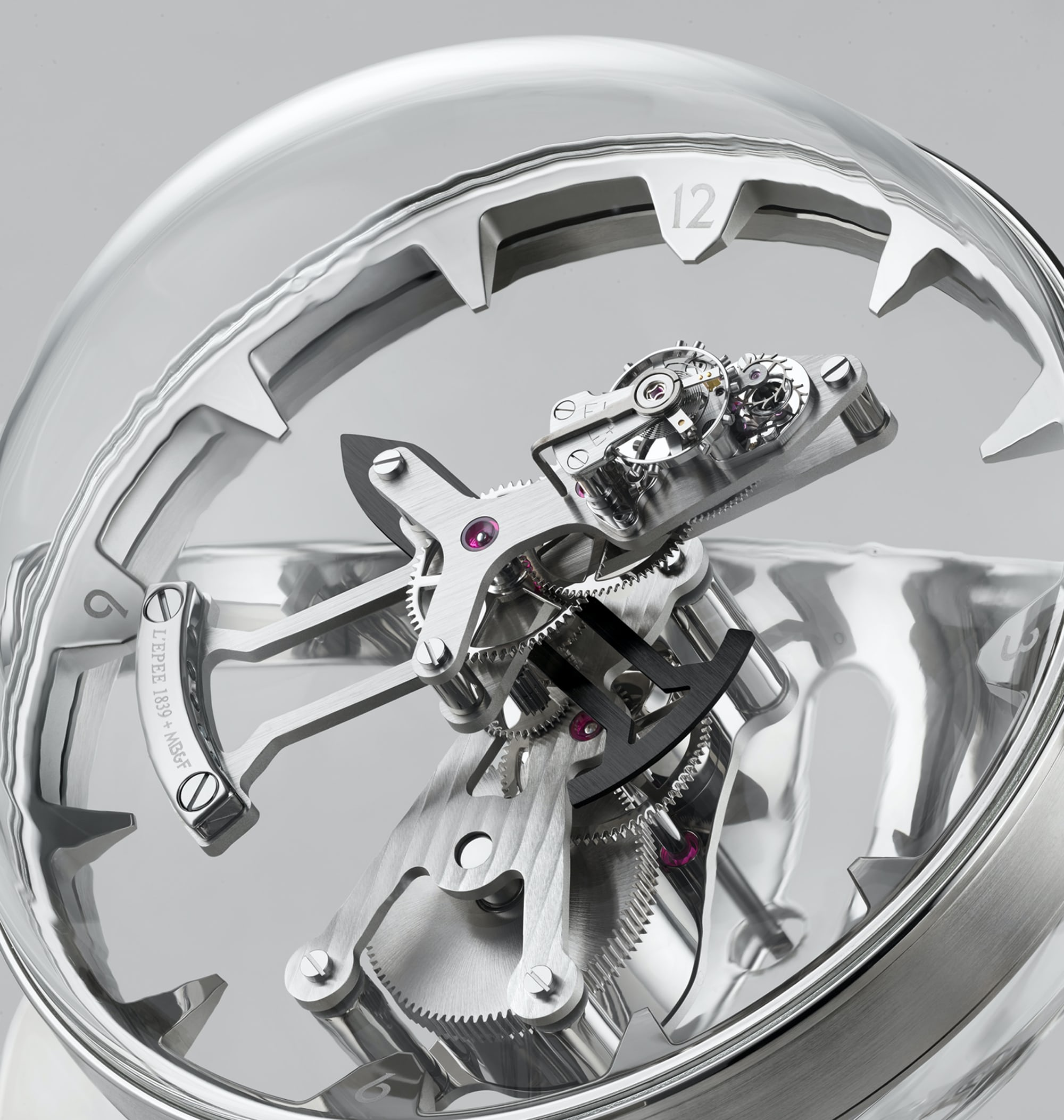 MB&F Octopod spherical polycarbonate case. Introducing: The MB&F And L'Epe 1839 Octopod Clock Introducing: The MB&F And L'Epe 1839 Octopod Clock Octopod Closeup LRES RGB